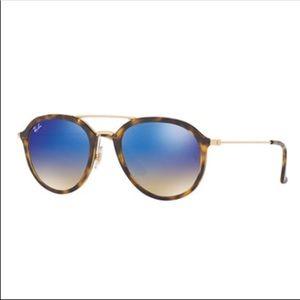 Ray Ban Blue Mirror Havana Aviators Sunglasses